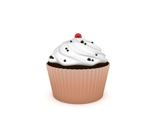 3d Rendering Cupcake mit Streuseln