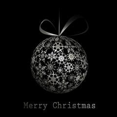 Silver Merry Christmas postcard