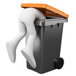 3D person looking for something in a bin