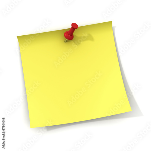 Yellow note and red push pin on white background with shadow