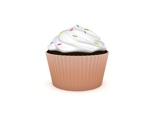 3d Rendering Cupcake mit bunten Streuseln