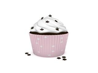 3d Rendering Cupcake rosa mit Schoko Sternchen Streusel