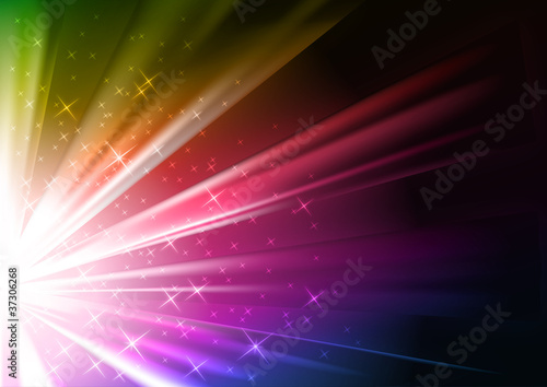 colorful vector background - light and stars