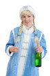 girl in christmas costume with bottle of champagne and glass