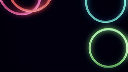 Falling, Bouncing Neon Rings in Slow Motion Loop