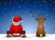 Santa und Rudolph im Schnee sitzend