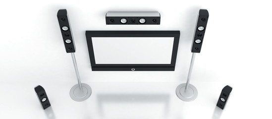 Modern home theater with plasma and high quality acoustics