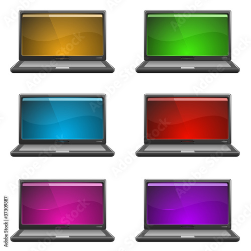 Vector laptops. 6 different screen colors..