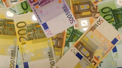 HD - Euro money. Euro banknotes falling down