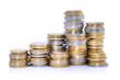 Piles de monnaie d'euros
