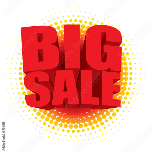 Vector 3D big sale text against a radial halftone