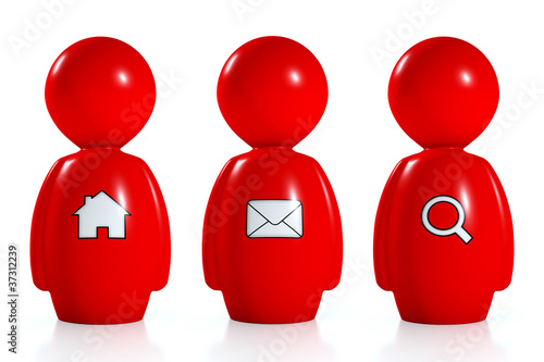 3d red humans with web symbols
