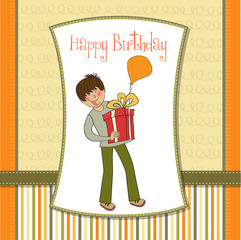 greeting card with boy and big gift box