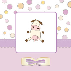 welcome girl greeting card with cow
