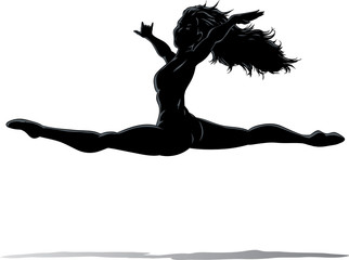 Outline of a dancer jumping