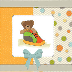 shower card with teddy bear hidden in a shoe