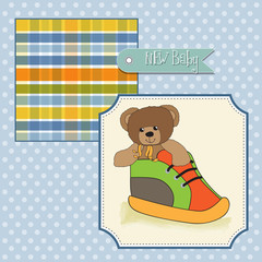 baby shower card with teddy bear hidden in a shoe