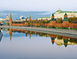 View of the Kremlin and Moscow river at sunrise