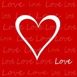 cuore bianco su sfondo rosso