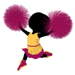 Little Cheer Girl Illustration Silhouette