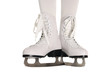Woman Legs in White Ice Skates on White Background