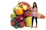 Black Woman with Assorted Fruits