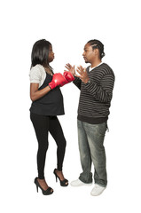 Pregnant Boxer and Adversary