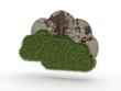 3d Icon Wolken Gras und Beton