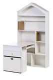 Wooden workstation (desk and bookcase), with clipping path poster