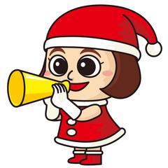 サンタクロースの衣装で呼び込みする女性販売員
