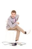 cute correspondent sitting poster