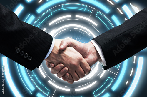 Handshake on background  a touch screen interface
