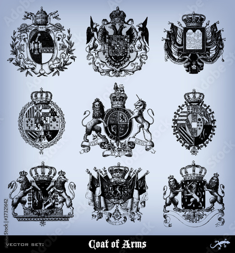 Engraving vintage coat of arms set.