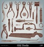 Engraving vintage Tools. poster