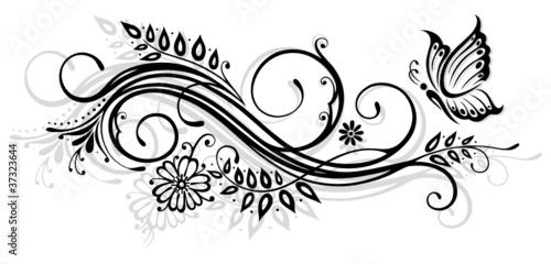 """""""ranke flora blumen blüten filigran schmetterling"""