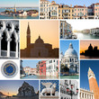 Collage of images of Venice, Italy.