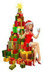 Woman Santa on stack of gifts