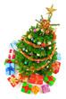 Bunter Weihnachtsbaum von oben gesehen