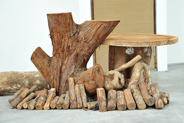 Wooden Blocks And Tree Stumps On Display