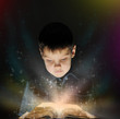 Boy is reading a magic book