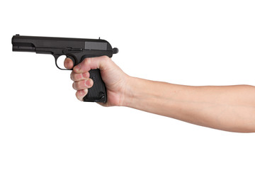 Gun in his outstretched hand of a man