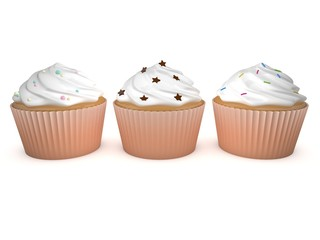 3d Rendering 3 Cupcakes