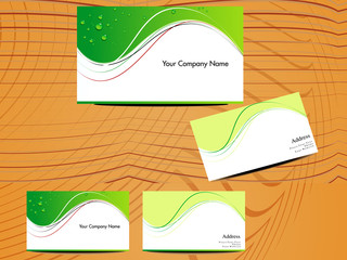 abstract green business card with wood base
