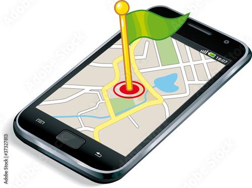 Smartphone GPS flag