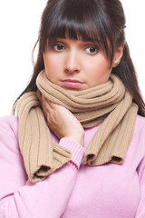 sad woman in scarf have a flu