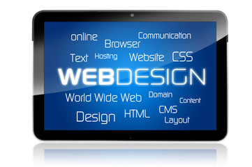 Tablet mit Webdesign