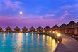 Island in ocean, Maldives. Night