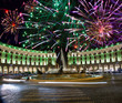 Celebratory fireworks over Republic square.Italy.Rome