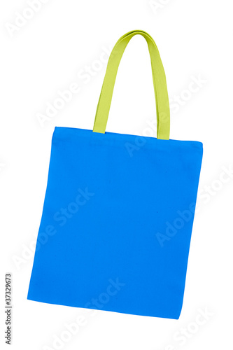 blue cotton bag isolated with clipping path