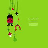 Hanging Ladybug & Symbols New Year´s Eve poster